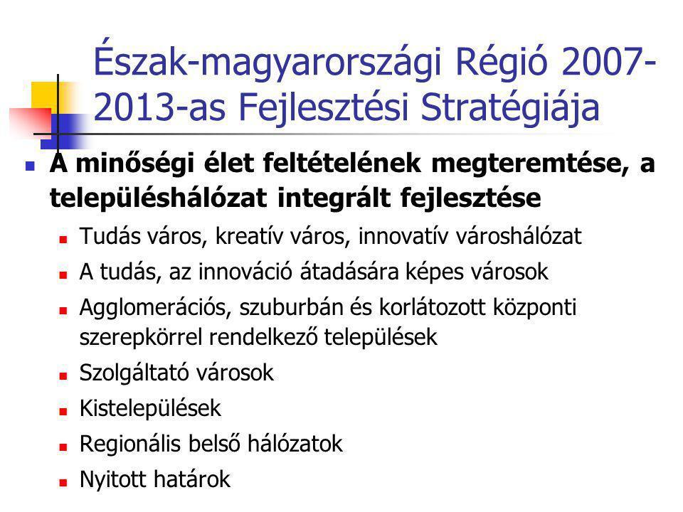 Észak-magyarországi Régió 2007- 2013-as Fejlesztési Stratégiája  A minőségi élet feltételének megteremtése, a településhálózat integrált fejlesztése  Tudás város, kreatív város, innovatív városhálózat  A tudás, az innováció átadására képes városok  Agglomerációs, szuburbán és korlátozott központi szerepkörrel rendelkező települések  Szolgáltató városok  Kistelepülések  Regionális belső hálózatok  Nyitott határok