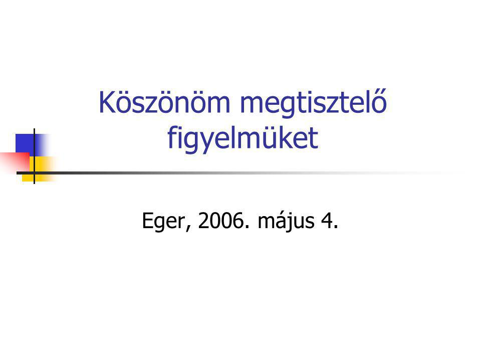 Köszönöm megtisztelő figyelmüket Eger, 2006. május 4.