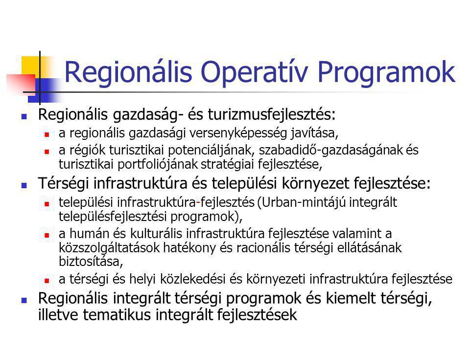 Regionális Operatív Programok  Regionális gazdaság- és turizmusfejlesztés:  a regionális gazdasági versenyképesség javítása,  a régiók turisztikai potenciáljának, szabadidő-gazdaságának és turisztikai portfoliójának stratégiai fejlesztése,  Térségi infrastruktúra és települési környezet fejlesztése:  települési infrastruktúra-fejlesztés (Urban-mintájú integrált településfejlesztési programok),  a humán és kulturális infrastruktúra fejlesztése valamint a közszolgáltatások hatékony és racionális térségi ellátásának biztosítása,  a térségi és helyi közlekedési és környezeti infrastruktúra fejlesztése  Regionális integrált térségi programok és kiemelt térségi, illetve tematikus integrált fejlesztések