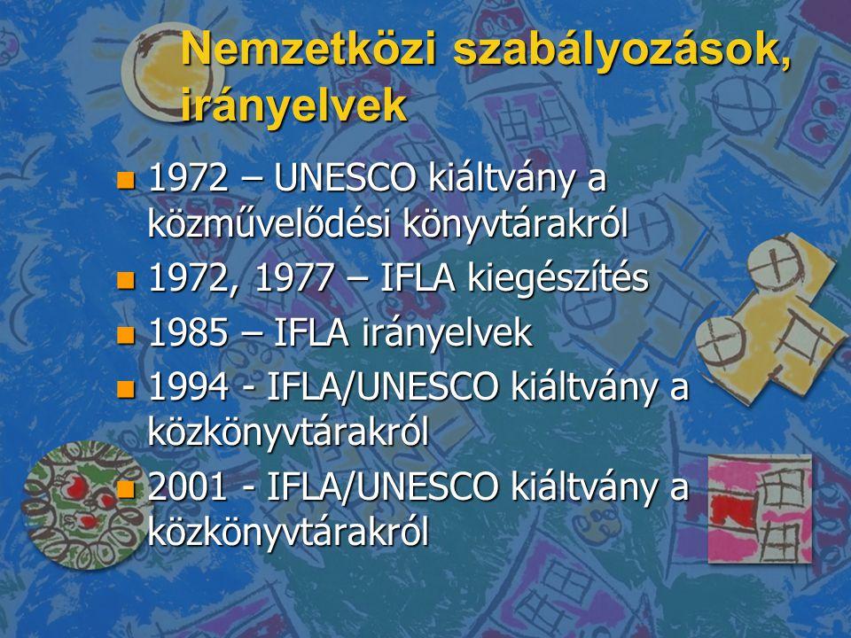 Nemzetközi szabályozások, irányelvek n 1972 – UNESCO kiáltvány a közművelődési könyvtárakról n 1972, 1977 – IFLA kiegészítés n 1985 – IFLA irányelvek