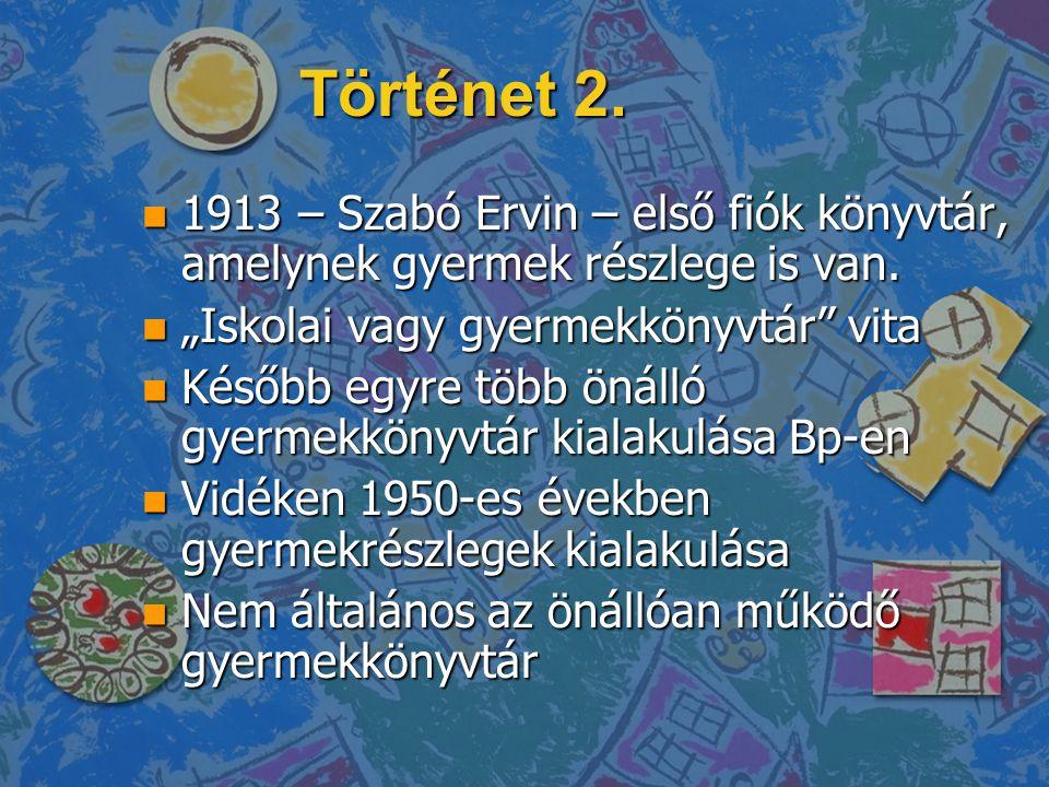 """Történet 2. n 1913 – Szabó Ervin – első fiók könyvtár, amelynek gyermek részlege is van. n """"Iskolai vagy gyermekkönyvtár"""" vita n Később egyre több öná"""