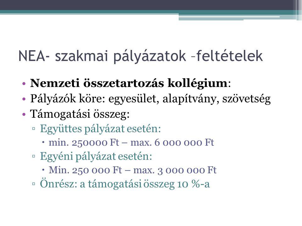 NEA- szakmai pályázatok –feltételek •Nemzeti összetartozás kollégium: •Pályázók köre: egyesület, alapítvány, szövetség •Támogatási összeg: ▫Együttes p