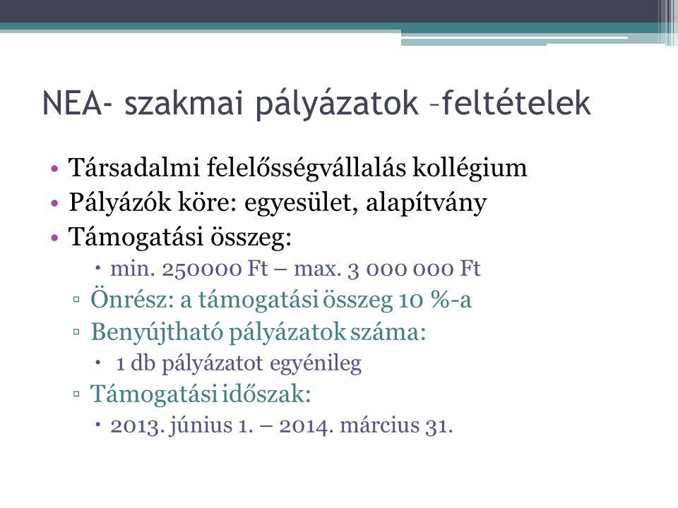 NEA- szakmai pályázatok –feltételek •Társadalmi felelősségvállalás kollégium •Pályázók köre: egyesület, alapítvány •Támogatási összeg:  min. 250000 F