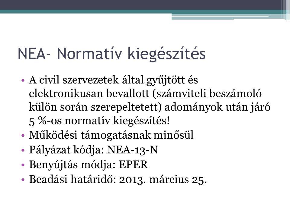 NEA- Normatív kiegészítés •A civil szervezetek által gyűjtött és elektronikusan bevallott (számviteli beszámoló külön során szerepeltetett) adományok után járó 5 %-os normatív kiegészítés.