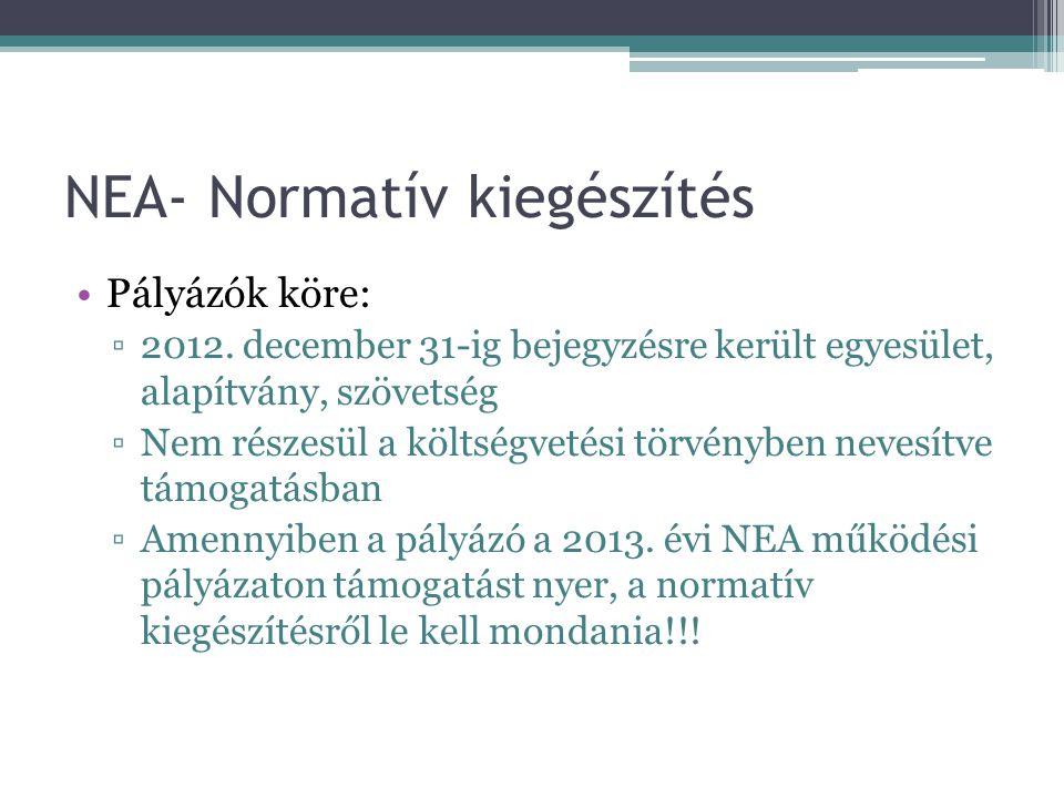 NEA- Normatív kiegészítés •Pályázók köre: ▫2012. december 31-ig bejegyzésre került egyesület, alapítvány, szövetség ▫Nem részesül a költségvetési törv