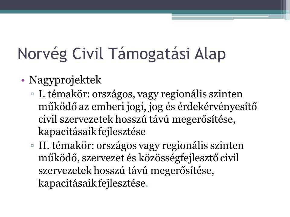 Norvég Civil Támogatási Alap •Nagyprojektek ▫I. témakör: országos, vagy regionális szinten működő az emberi jogi, jog és érdekérvényesítő civil szerve