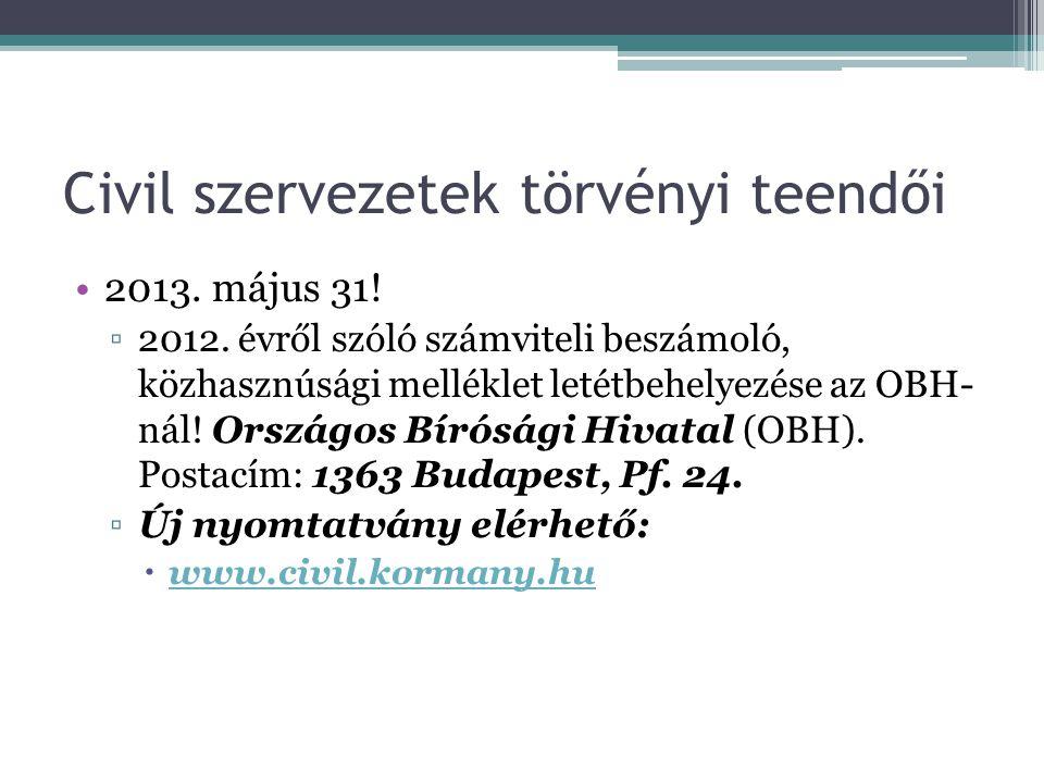 Civil szervezetek törvényi teendői •2013. május 31! ▫2012. évről szóló számviteli beszámoló, közhasznúsági melléklet letétbehelyezése az OBH- nál! Ors