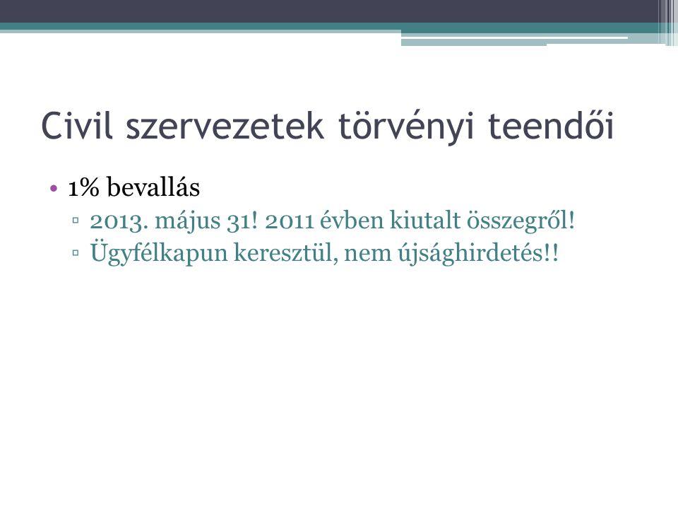 Civil szervezetek törvényi teendői •1% bevallás ▫2013. május 31! 2011 évben kiutalt összegről! ▫Ügyfélkapun keresztül, nem újsághirdetés!!