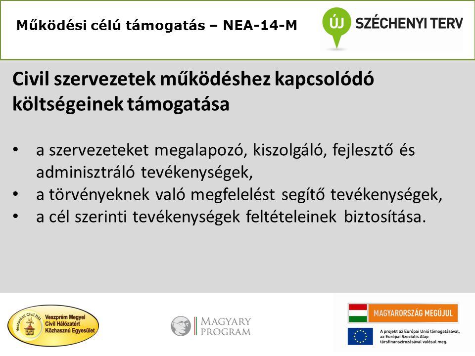 Működési célú támogatás – NEA-14-M Civil szervezetek működéshez kapcsolódó költségeinek támogatása • a szervezeteket megalapozó, kiszolgáló, fejlesztő