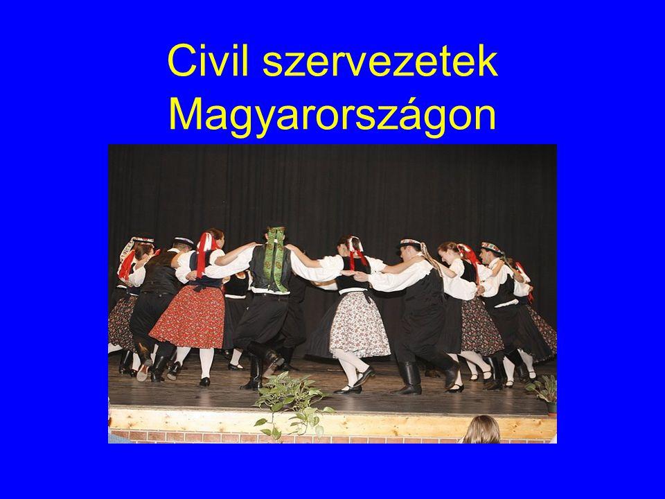 Civil szektor -Magyarországon közel 60 000 bejegyzett civil szervezet működik(egyesületek, alapítványok) -Törvények: -1989.