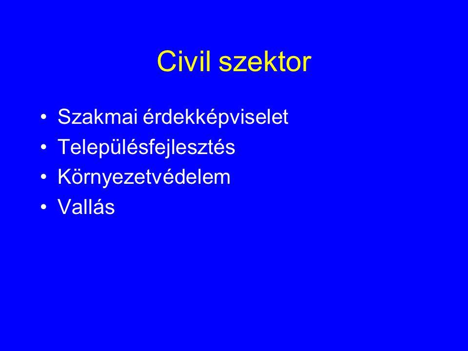 Civil szektor •Szakmai érdekképviselet •Településfejlesztés •Környezetvédelem •Vallás