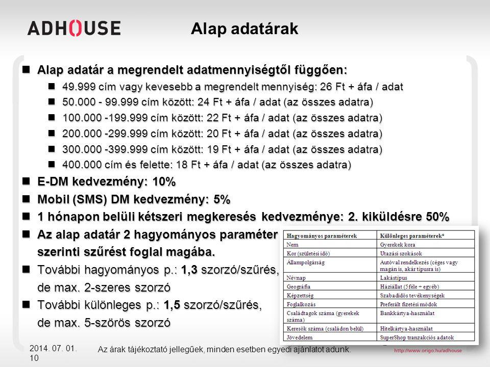 Alap adatárak 2014. 07. 01. 10  Alap adatár a megrendelt adatmennyiségtől függően:  49.999 cím vagy kevesebb a megrendelt mennyiség: 26 Ft + áfa / a