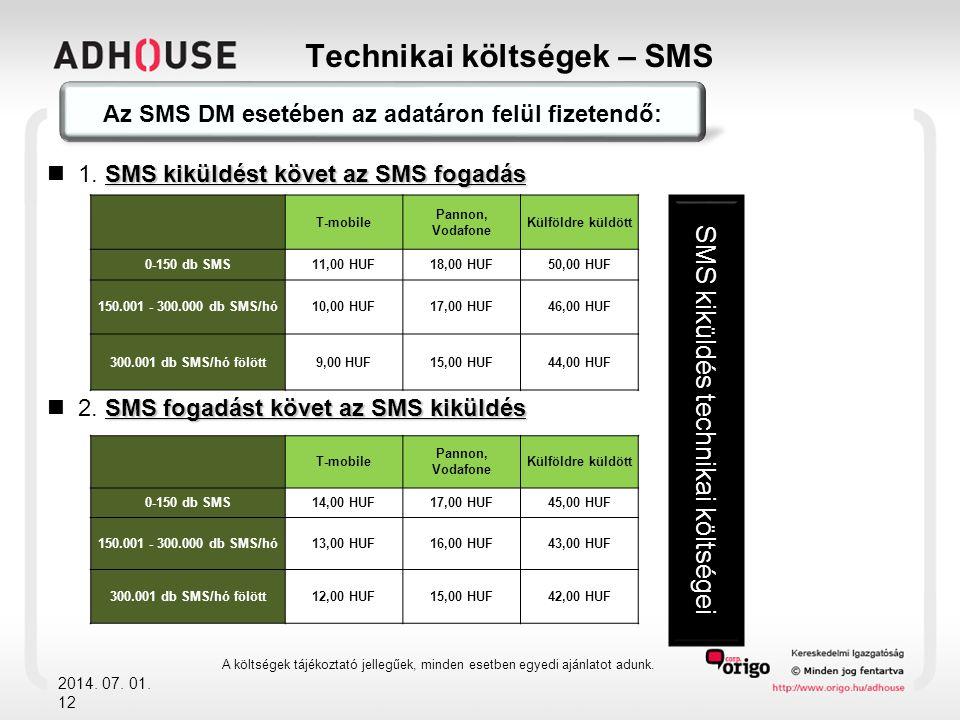 Technikai költségek – SMS 2014. 07. 01. 12 Az SMS DM esetében az adatáron felül fizetendő: SMS kiküldést követ az SMS fogadás  1. SMS kiküldést követ