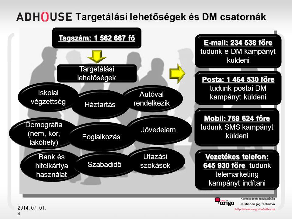 Targetálási lehetőségek és DM csatornák 2014. 07. 01. 4 Targetálási lehetőségek Tagszám: 1 562 667 fő Autóval rendelkezik Jövedelem Háztartás Demográf