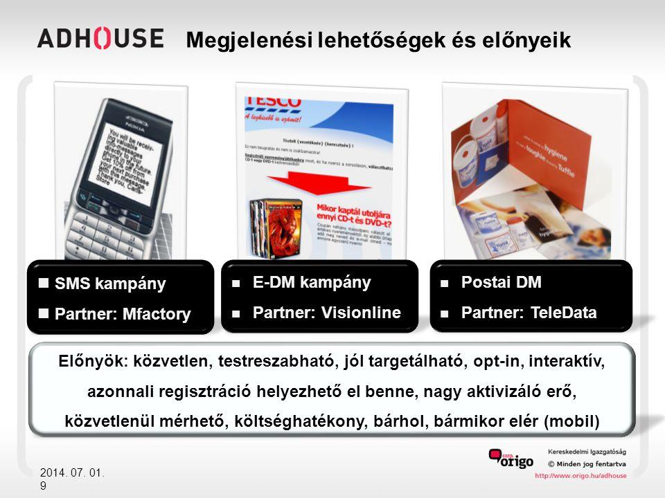 Megjelenési lehetőségek és előnyeik 2014. 07. 01. 9  SMS kampány  Partner: Mfactory  Postai DM  Partner: TeleData  E-DM kampány  Partner: Vision