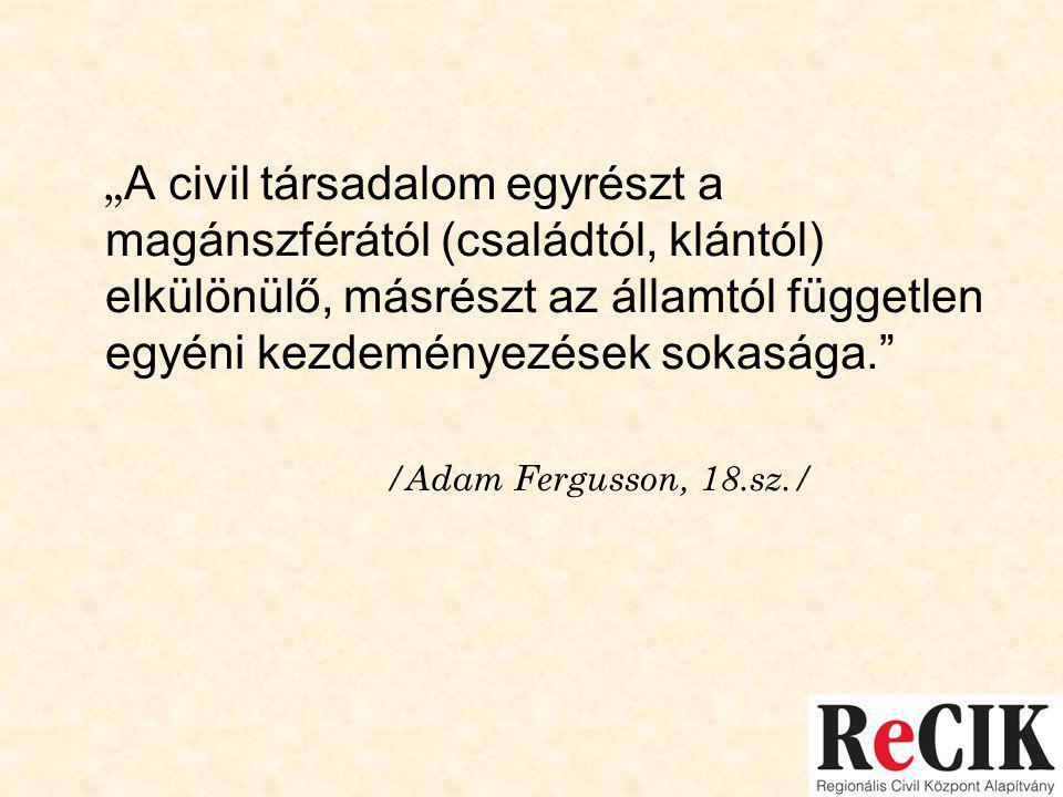 """"""" A civil társadalom egyrészt a magánszférától (családtól, klántól) elkülönülő, másrészt az államtól független egyéni kezdeményezések sokasága. /Adam Fergusson, 18.sz./"""