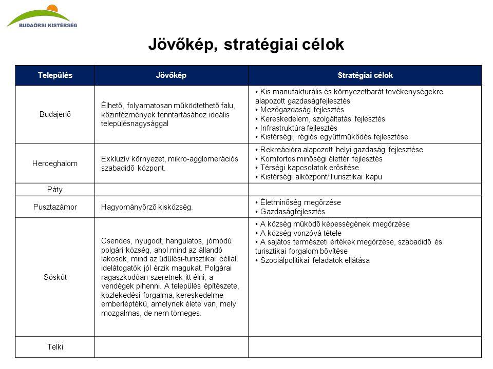 Jövőkép, stratégiai célok TelepülésJövőképStratégiai célok Budajenő Élhető, folyamatosan működtethető falu, közintézmények fenntartásához ideális településnagysággal •Kis manufakturális és környezetbarát tevékenységekre alapozott gazdaságfejlesztés •Mezőgazdaság fejlesztés •Kereskedelem, szolgáltatás fejlesztés •Infrastruktúra fejlesztés •Kistérségi, régiós együttműködés fejlesztése Herceghalom Exkluzív környezet, mikro-agglomerációs szabadidő központ.