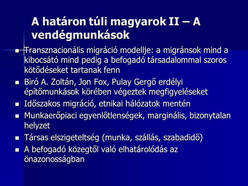 A határon túli magyarok II – A vendégmunkások  Transznacionális migráció modellje: a migránsok mind a kibocsátó mind pedig a befogadó társadalommal s