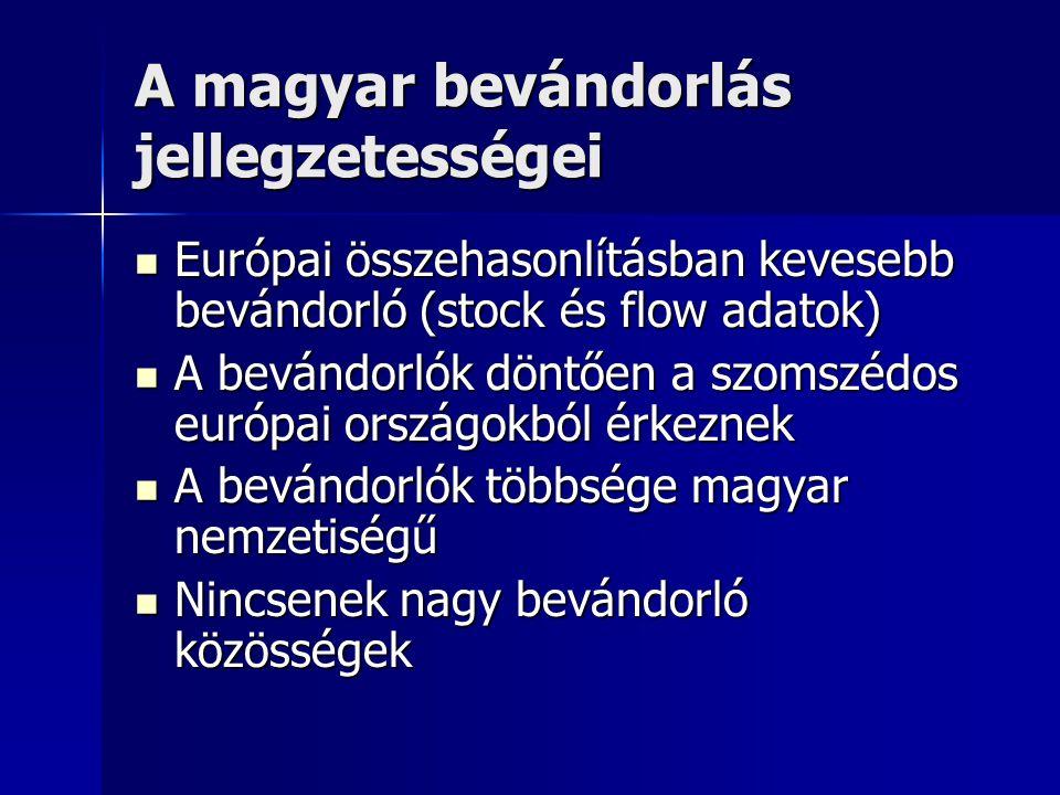 A magyar bevándorlás jellegzetességei  Európai összehasonlításban kevesebb bevándorló (stock és flow adatok)  A bevándorlók döntően a szomszédos eur
