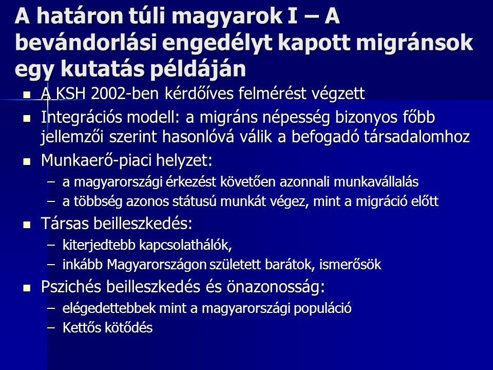 A határon túli magyarok I – A bevándorlási engedélyt kapott migránsok egy kutatás példáján  A KSH 2002-ben kérdőíves felmérést végzett  Integrációs
