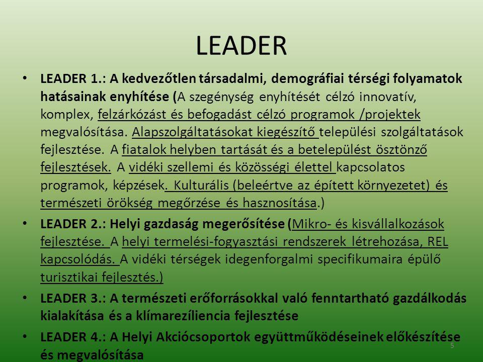 LEADER • LEADER 1.: A kedvezőtlen társadalmi, demográfiai térségi folyamatok hatásainak enyhítése (A szegénység enyhítését célzó innovatív, komplex, felzárkózást és befogadást célzó programok /projektek megvalósítása.