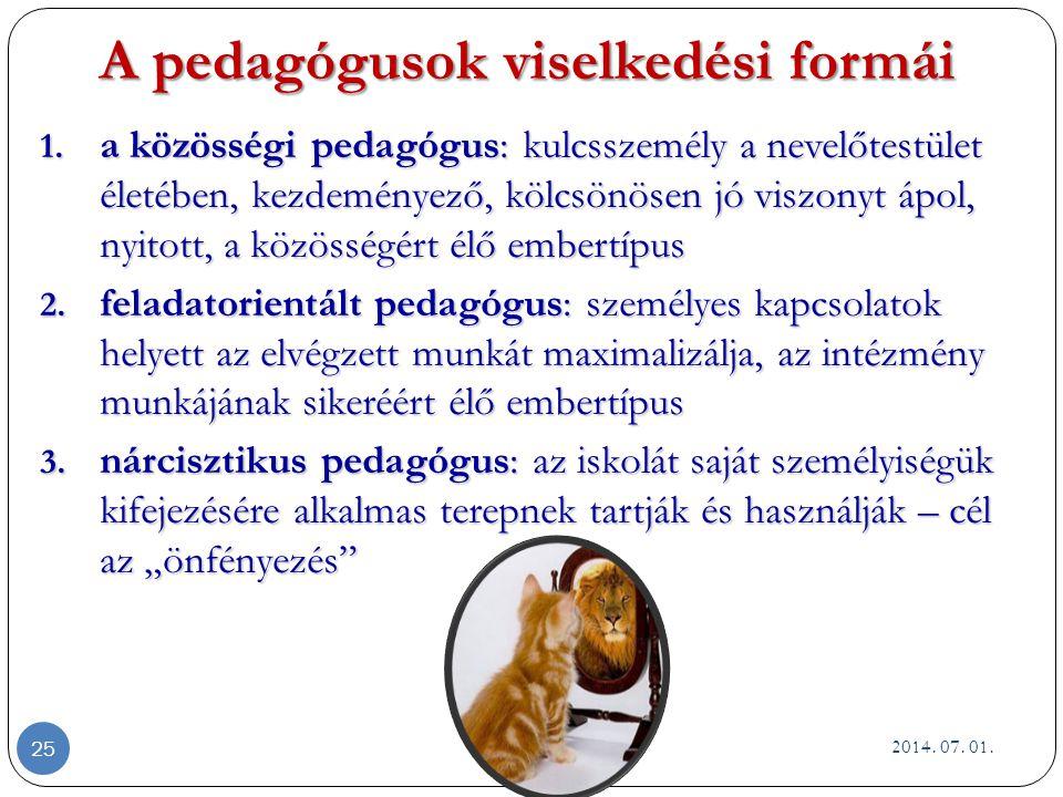 A pedagógusok viselkedési formái 1.