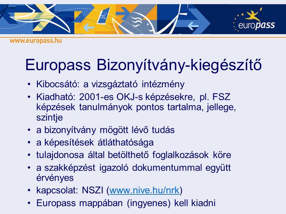Europass Bizonyítvány-kiegészítő •Kibocsátó: a vizsgáztató intézmény •Kiadható: 2001-es OKJ-s képzésekre, pl. FSZ képzések tanulmányok pontos tartalma