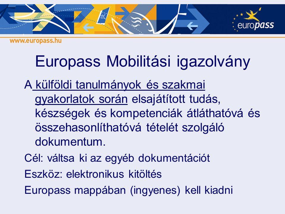 Europass Mobilitási igazolvány A külföldi tanulmányok és szakmai gyakorlatok során elsajátított tudás, készségek és kompetenciák átláthatóvá és összeh