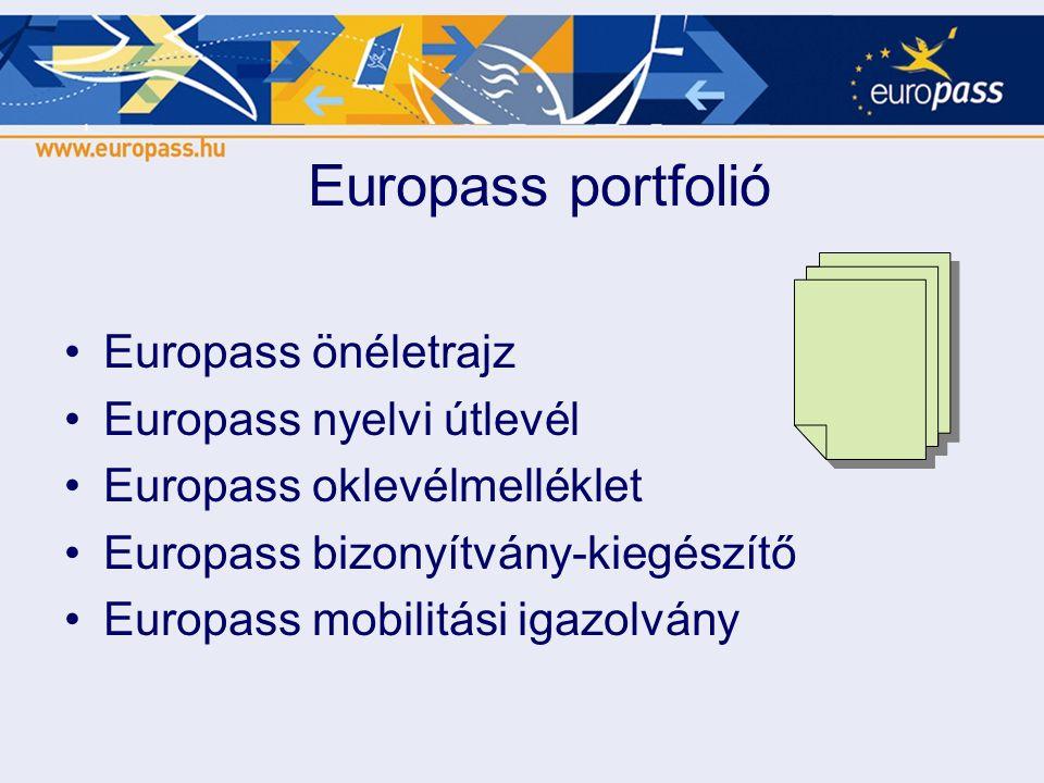 Europass portfolió •Europass önéletrajz •Europass nyelvi útlevél •Europass oklevélmelléklet •Europass bizonyítvány-kiegészítő •Europass mobilitási iga