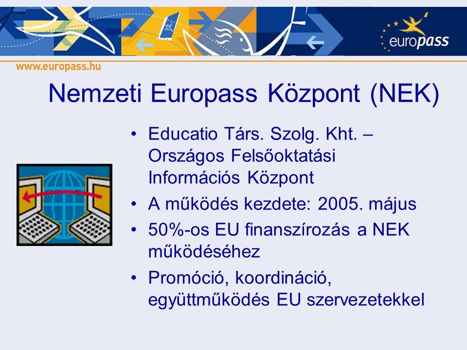 Nemzeti Europass Központ (NEK) •Educatio Társ. Szolg. Kht. – Országos Felsőoktatási Információs Központ •A működés kezdete: 2005. május •50%-os EU fin