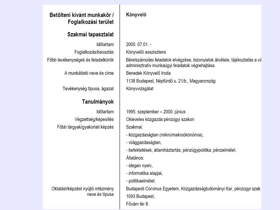 NEK adatbázis és szolgáltatások europass.cedefop.europa.eu állampolgárok munkaadók FOI CV-k és LP DS, EM Megtekintés ellenőrzés keresés Megtekintés ellenőrzés álláskeresés