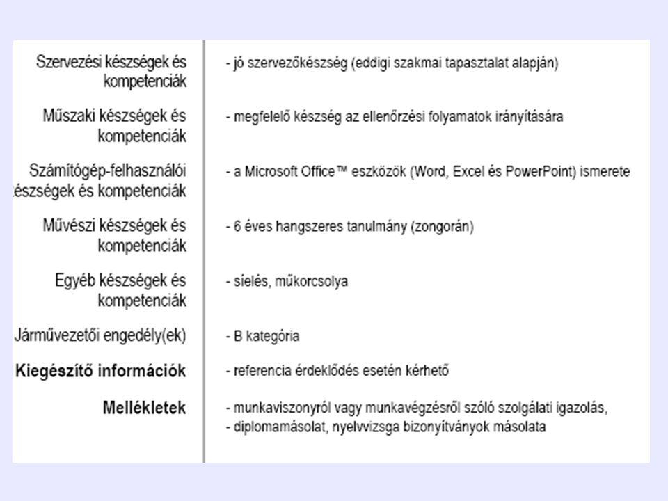 Europass nyelvi útlevél •Gyakorlati nyelvtudás részletezése •Egységes kódrendszer •Internetről letölthető, 25 nyelven •Ingyenes, EU-s formanyomtatvány •Tulajdonos tölti ki, önkéntes, önértékelés www.europass.hu