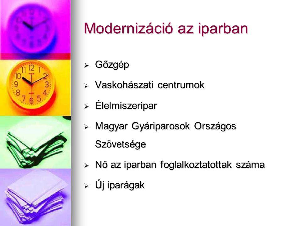 Modernizáció az iparban  Gőzgép  Vaskohászati centrumok  Élelmiszeripar  Magyar Gyáriparosok Országos Szövetsége  Nő az iparban foglalkoztatottak száma  Új iparágak