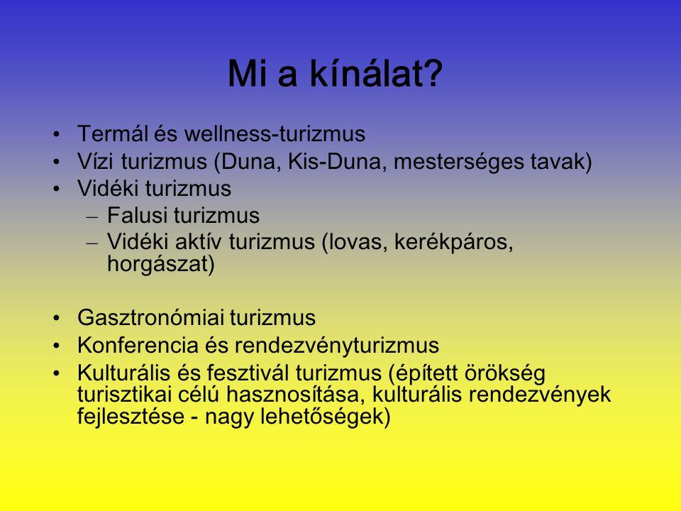 Mi a kínálat? • Termál és wellness-turizmus • Vízi turizmus (Duna, Kis-Duna, mesterséges tavak) • Vidéki turizmus – Falusi turizmus – Vidéki aktív tur