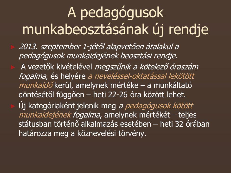 A pedagógusok munkabeosztásának új rendje ► ► 2013.