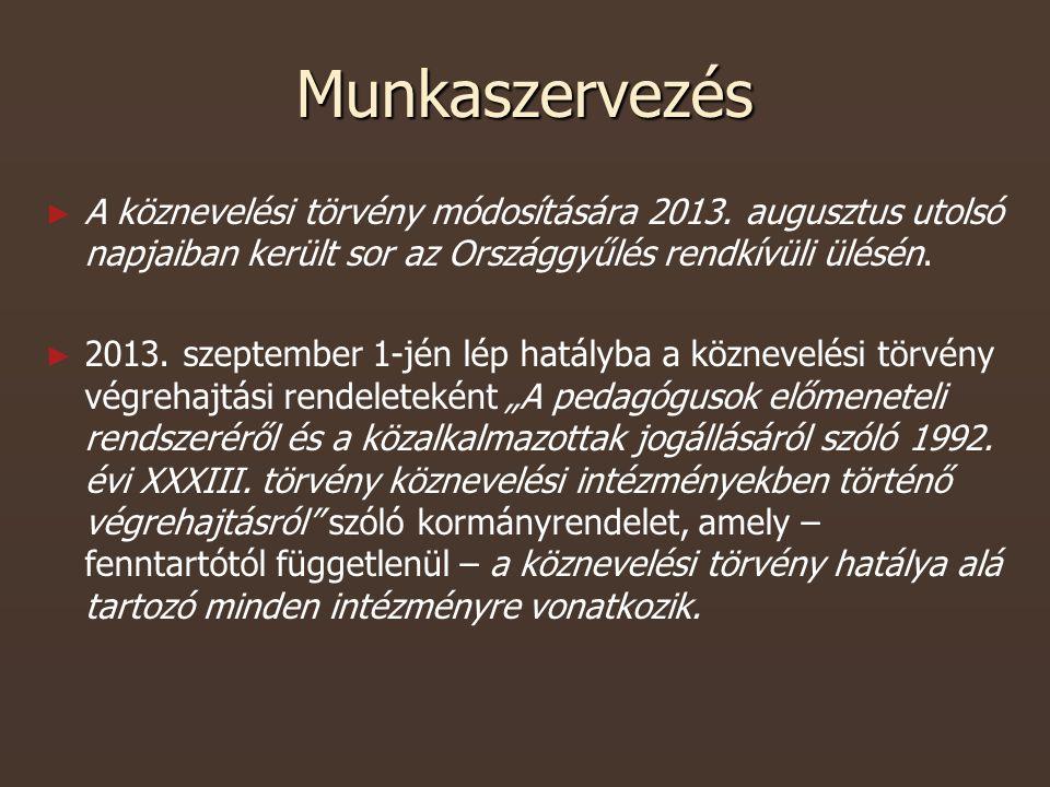 Munkaszervezés ► ► A köznevelési törvény módosítására 2013.