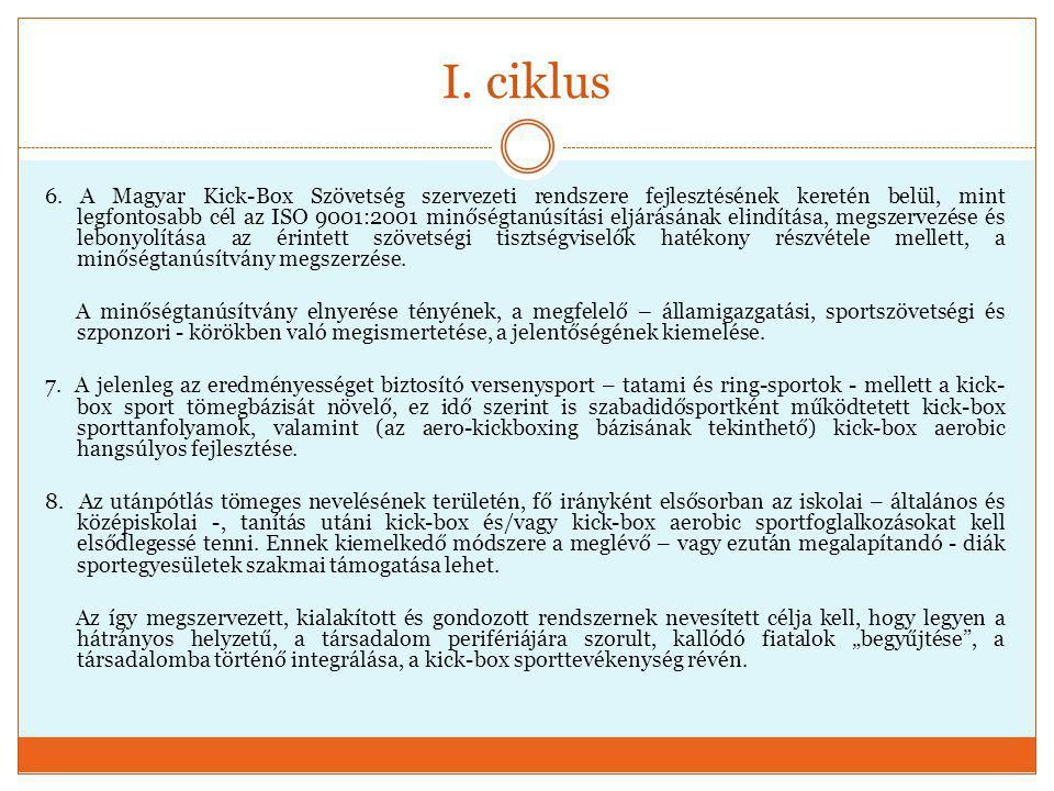 I. ciklus 6. A Magyar Kick-Box Szövetség szervezeti rendszere fejlesztésének keretén belül, mint legfontosabb cél az ISO 9001:2001 minőségtanúsítási e