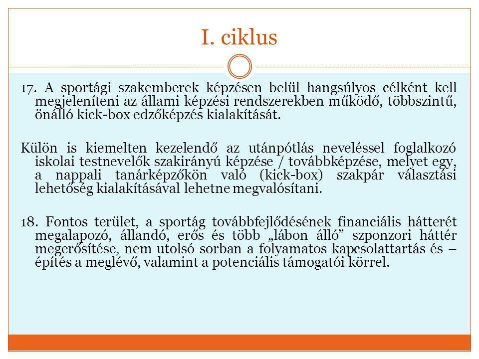 I. ciklus 17. A sportági szakemberek képzésen belül hangsúlyos célként kell megjeleníteni az állami képzési rendszerekben működő, többszintű, önálló k
