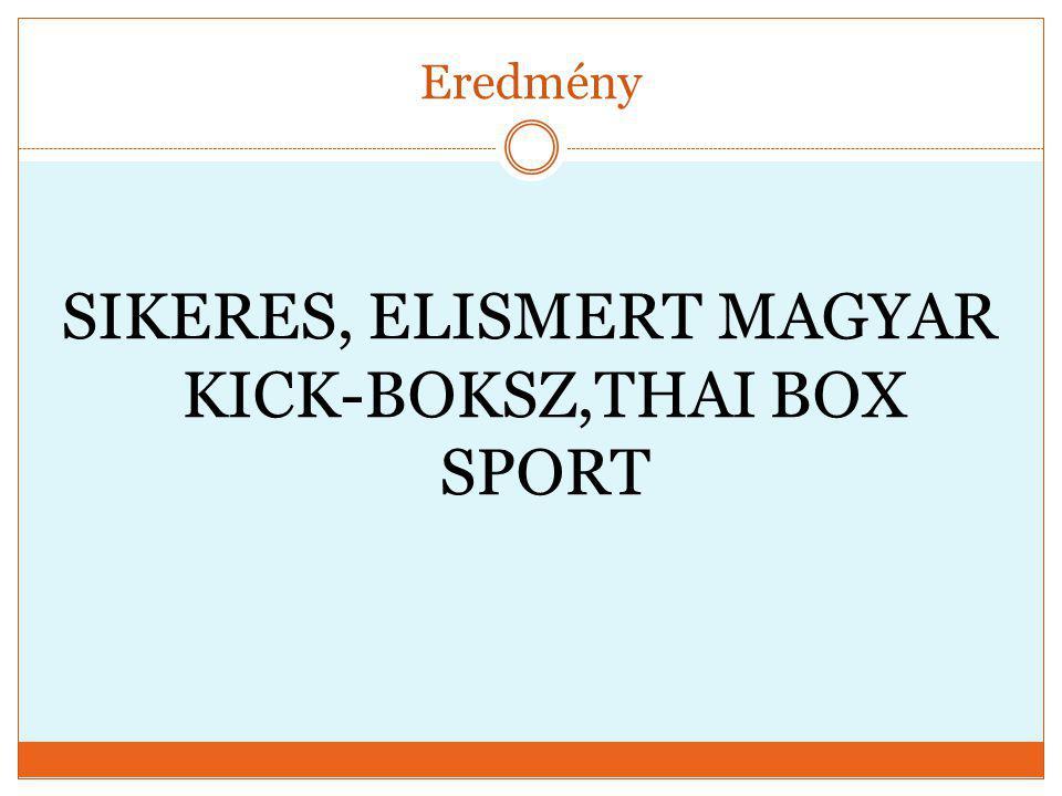 Eredmény SIKERES, ELISMERT MAGYAR KICK-BOKSZ,THAI BOX SPORT