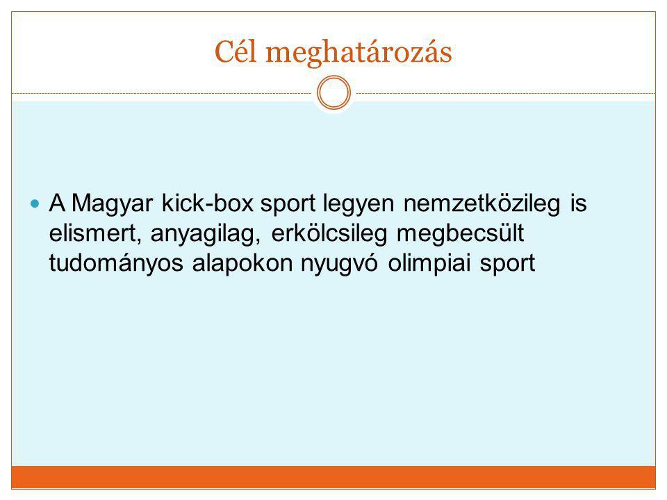Cél meghatározás  A Magyar kick-box sport legyen nemzetközileg is elismert, anyagilag, erkölcsileg megbecsült tudományos alapokon nyugvó olimpiai spo