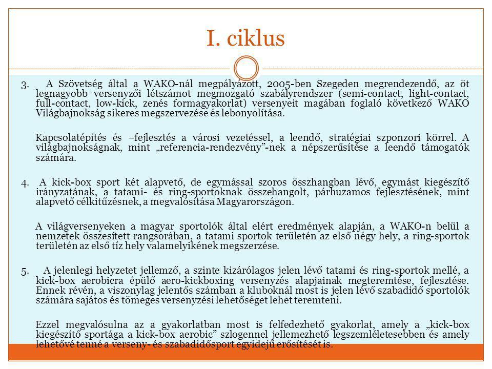 I. ciklus 3. A Szövetség által a WAKO-nál megpályázott, 2005-ben Szegeden megrendezendő, az öt legnagyobb versenyzői létszámot megmozgató szabályrends