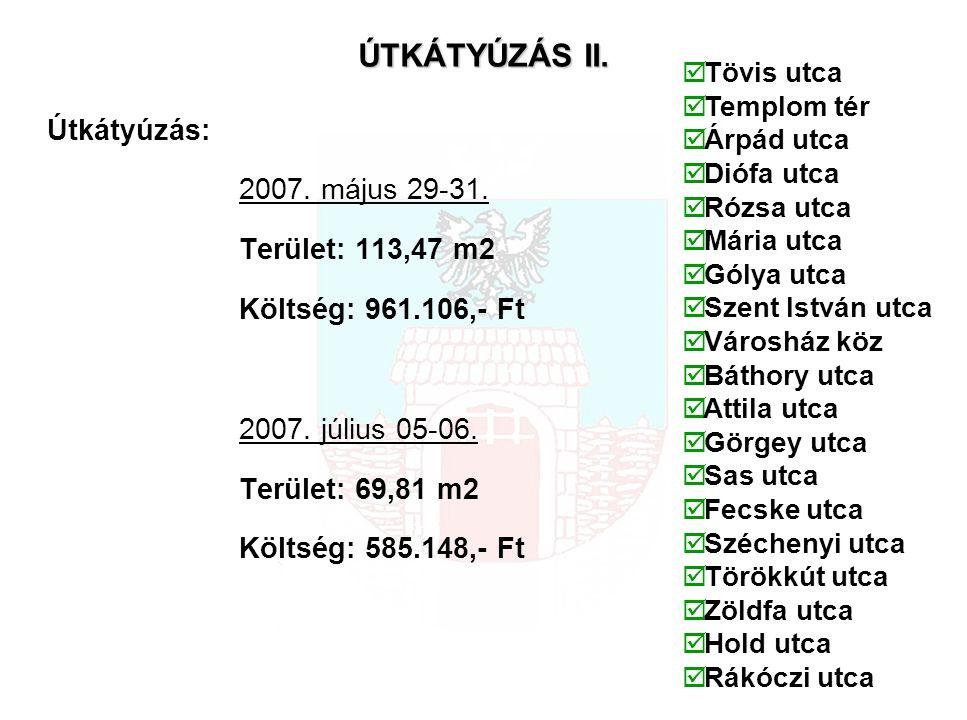ÚTKÁTYÚZÁS II. Útkátyúzás: 2007. május 29-31. Terület: 113,47 m2 Költség: 961.106,- Ft 2007.