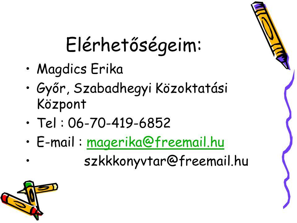 Elérhetőségeim: •Magdics Erika •Győr, Szabadhegyi Közoktatási Központ •Tel : 06-70-419-6852 •E-mail : magerika@freemail.humagerika@freemail.hu • szkkkonyvtar@freemail.hu