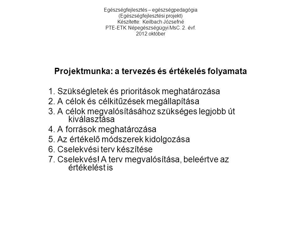 Egészségfejlesztés – egészségpedagógia (Egészségfejlesztési projekt) Készítette: Keilbach Józsefné PTE-ETK Népegészségügyi MsC. 2. évf. 2012.október P