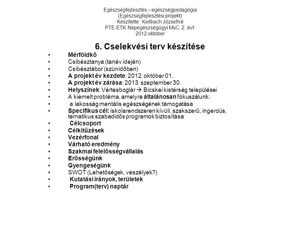 Egészségfejlesztés – egészségpedagógia (Egészségfejlesztési projekt) Készítette: Keilbach Józsefné PTE-ETK Népegészségügyi MsC. 2. évf. 2012.október 6