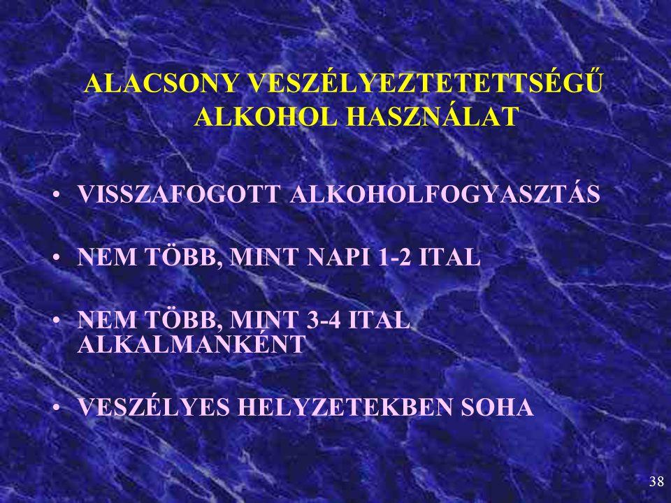 38 ALACSONY VESZÉLYEZTETETTSÉGŰ ALKOHOL HASZNÁLAT •VISSZAFOGOTT ALKOHOLFOGYASZTÁS •NEM TÖBB, MINT NAPI 1-2 ITAL •NEM TÖBB, MINT 3-4 ITAL ALKALMANKÉNT