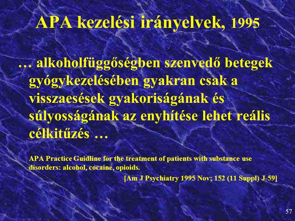 57 APA kezelési irányelvek, 1995 … alkoholfüggőségben szenvedő betegek gyógykezelésében gyakran csak a visszaesések gyakoriságának és súlyosságának az
