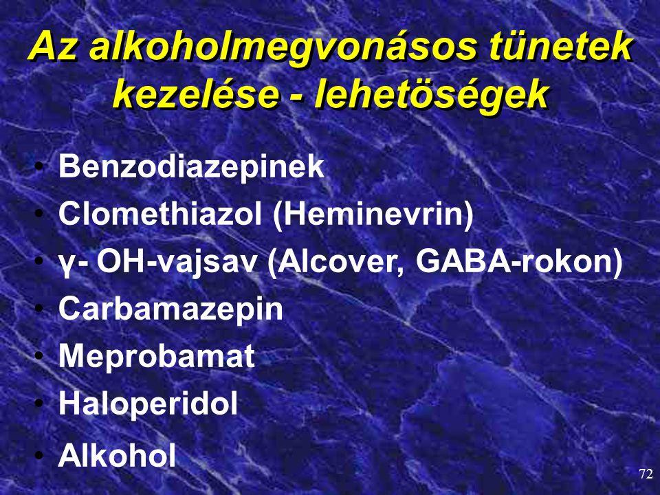72 Az alkoholmegvonásos tünetek kezelése - lehetöségek • •Benzodiazepinek • •Clomethiazol (Heminevrin) • •γ- OH-vajsav (Alcover, GABA-rokon) • •Carbam