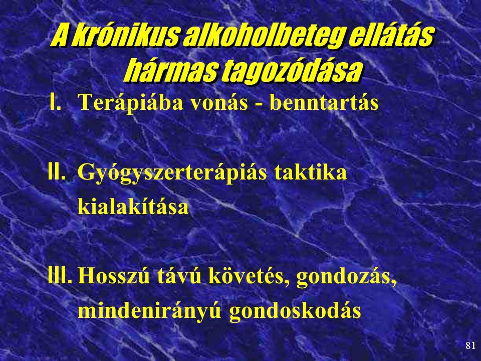 81 A krónikus alkoholbeteg ellátás hármas tagozódása I. Terápiába vonás - benntartás II. Gyógyszerterápiás taktika kialakítása III. Hosszú távú követé
