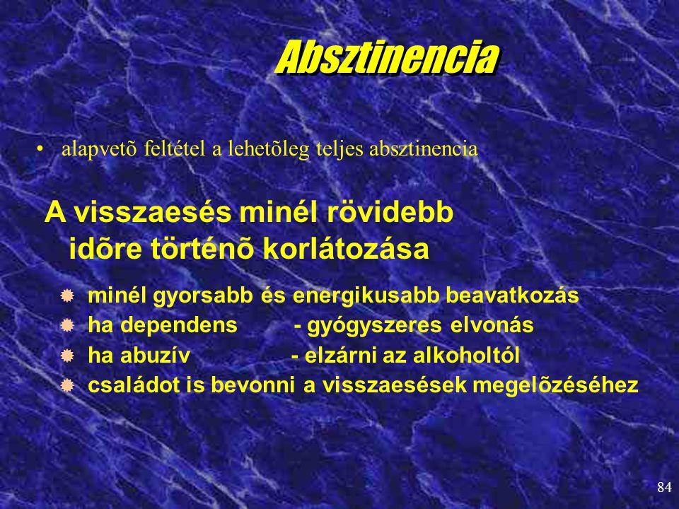 84 •alapvetõ feltétel a lehetõleg teljes absztinencia Absztinencia A visszaesés minél rövidebb idõre történõ korlátozása   minél gyorsabb és energik
